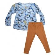 Conjunto Infantil Floral Cats Azul e Caramelo