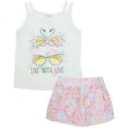 Conjunto Infantil Floral Flamingos Pérola