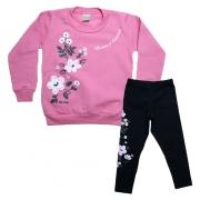 Conjunto Infantil Flores Rosa