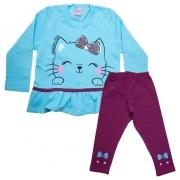 Conjunto Infantil Gatinha Azul