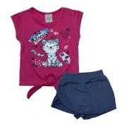 Conjunto Infantil Gatinha Pink