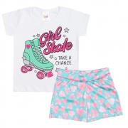 Conjunto Infantil Girl Skate Branco