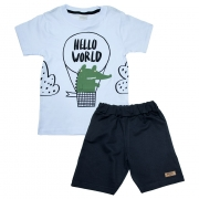 Conjunto Infantil Hello World Branco