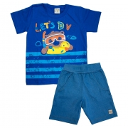 Conjunto Infantil Let's Dive Azul Royal