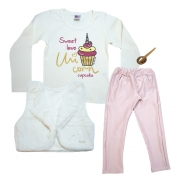 Conjunto Infantil Love Cupcake Pérola e Rosê