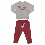 Conjunto Infantil My Friend Bear Bordô