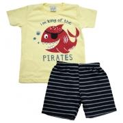 Conjunto Infantil Peixe Pirata Amarelo