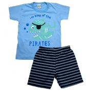 Conjunto Infantil Peixe Pirata Azul