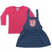 Conjunto Infantil Salopete Uni Duni Pink
