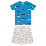 Conjunto Infantil Tubarões Azul