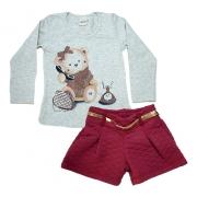 Conjunto Infantil Ursinha Mescla e Vermelho
