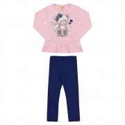 Conjunto Infantil Urso Rosa