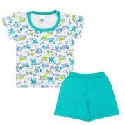Conjunto Pijama Bebê Máquinas Branco