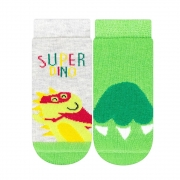 Kit Meias Bebê Super Dino Verde e Mescla