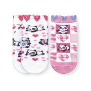 Kit Meias Soquete Bebê Antiderrapante Panda