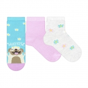 Kit Meias Soquete Dog Surprise Azul Rosa e Bege