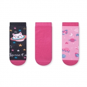 Kit Meias Soquete Infantil Space Cat