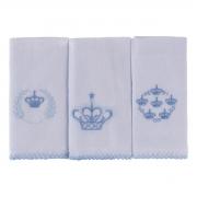 Kit Pano De Boca Bordados Coroa 03 Peças Azul