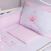 Kit Protetor De Berço Bordado Coroa Rosa