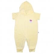 Macacão Bebê Aplique Com Capuz  Amarelo