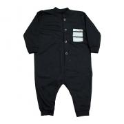 Macacão Bebê Com Bolso   Preto