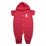 Macacão Bebê Com Capuz Aplique  Vermelho