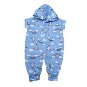 Macacão Bebê Com Capuz Unicórnio  Azul