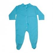 Macacão Bebê Com Pézinho  Azul