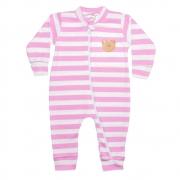 Macacão Bebê Listrado Com Aplique Ursinha Rosa
