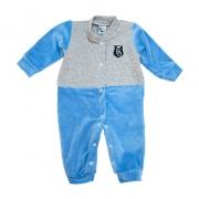 Macacão Bebê Plush e Matelassê Azul