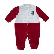 Macacão Bebê Plush e Matelassê Vermelho