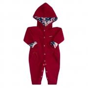 Macacão Bebê Soft Com Capuz Forrado Vermelho