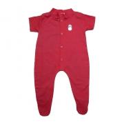 Macaquinho Bebê Aplique Com Pézinho  Vermelho