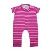 Macaquinho Bebê Listras Pink Com Branco