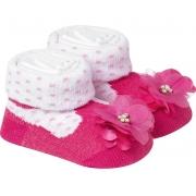 Meia Divertida Bebê Flor Pink E Branco