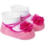 Meia Divertida Bebê Florzinhas Rosa