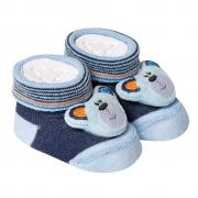 Meia Divertida Bebê RN Urso Marinho e Azul