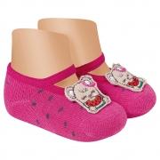 Meia Sapatilha Antiderrapante Ursinha Pink