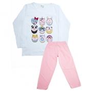 Pijama Infantil Biscoito Branco Com Rosa