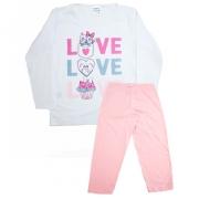 Pijama Infantil Love Branco Com Rosa