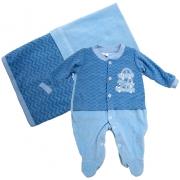 Saída De Maternidade Carrinhos  Azul
