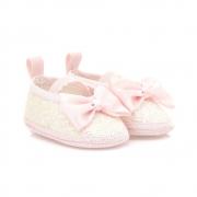 Sapatilha Bebê Com Brilho e Laço Baby Gut Rosa