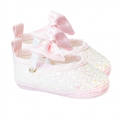 Sapatilha Bebê Com Glitter e Laço Rosa