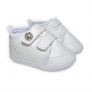 Sapatinho Bebê Com Velcro Branco