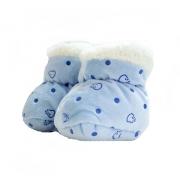 Sapatinho Pantufa Bebê Poá Azul