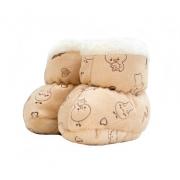 Sapatinho Pantufa Bebê Ursinho Bege