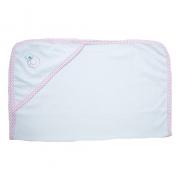 Toalha Bebê Com Aplique Branco Com Rosa