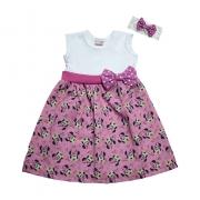 Vestido Bebê Minnie Com Faixa de cabelo Sonho Rosa