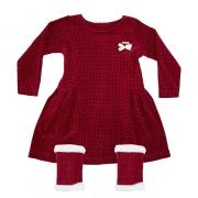 Vestido Infantil Com Polaina Vermelho
