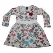 Vestido Infantil Favinho Tropical Pérola